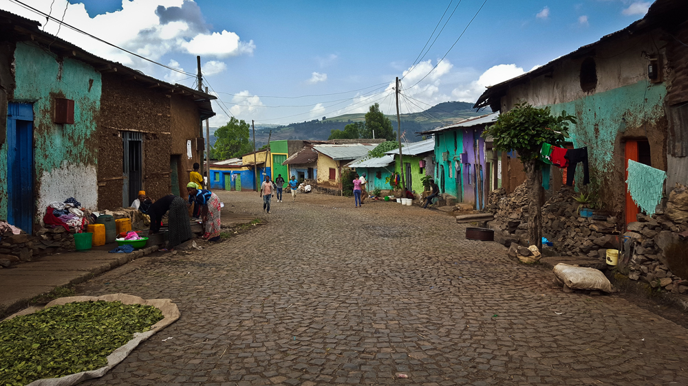 Colourful cobbled streets of Gonder, Ethiopia