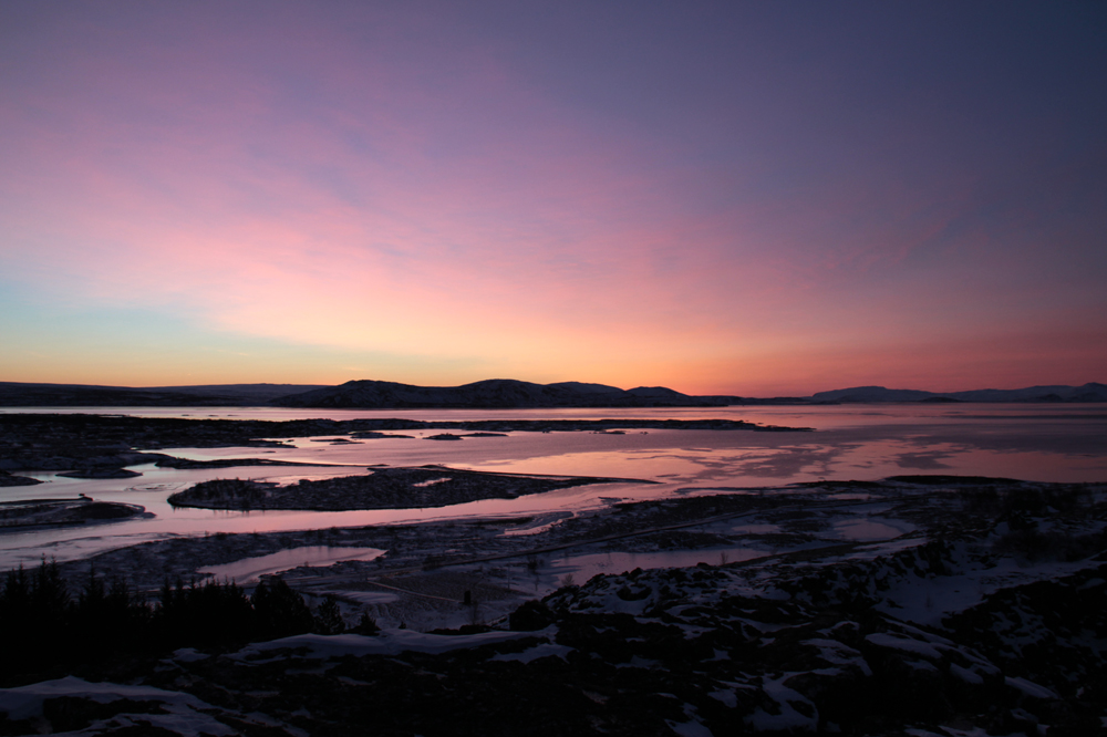 Sunrise over Thingvellir national park, Iceland