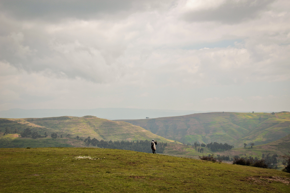 Scout walks in Simien Mountains, Ethiopia